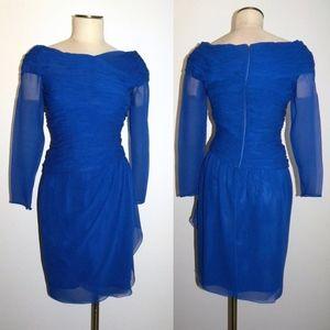 VINTAGE Oscar de la Renta Cobalt Blue Silk Dress 4